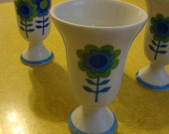 Vintage Mod Pop Art Flowers Porcelain Sundae Cups Made in Japan
