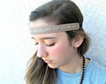 Hippy Chick headband.  Hair band.  non slip. Light brown.  Lace.  Elastic
