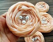 Peach Fabric Roses Handmade Appliques Embellishments(5 pcs)