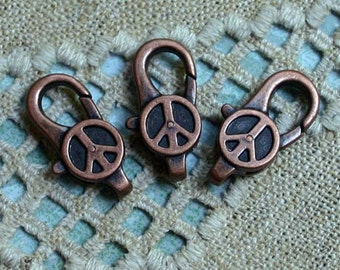 4pcs Clasp Lobster Claw Antiqued Copper Finished Pewter 27x12mm Peace Sign Design