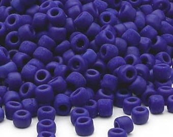 Matte Opaque Navy Blue Seed Beads Dyna-Mites Matsuno Japan Glass Size 6 Round 40g