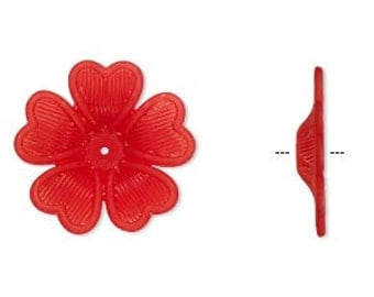 25pcs Frosted Lucite Flower Red Acrylic Beads 42x7mm Iced