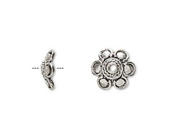 6pcs Antiqued Silver Plated Pewter Bead Cap 10.5x3.5mm Flower Fits 10-14mm Bead