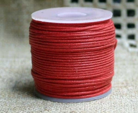 Cotton Cord RED Waxed 0.5mm 25-meter Many Colors