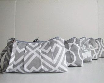 Set of 6, Bridesmaid Gift Idea, Bridesmaid Wristlet Clutch - Your Choice Fabric