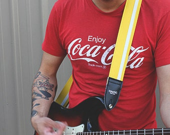 Yellow w/ White Racer X Guitar Strap  - Vegan - Plenty of other colors for everyone