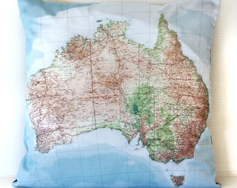 world maps pillow cover, cushion cover, AUSTRALIA map pillow decorative map cushion 40cm 16inches
