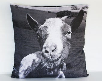 "Goat cushion/ animal pillow/ kids decor/  16"" cushion/ 40cm pillow /animal cushion/ animal pillow/ kids bedroom / monochrome nursery"