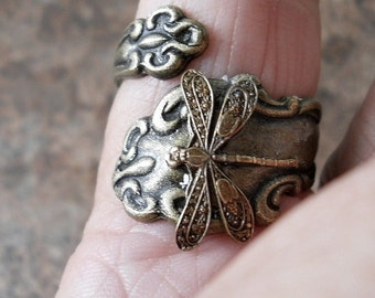 Dragonfly Spoon Ring in Antiqued Brass,*** Exclusive Design Only by Enchanted Lockets