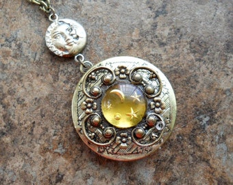 Heavenly Bodies Moon, Stars, and Sun Brass Locket, Astrological Locket by Enchanted Lockets