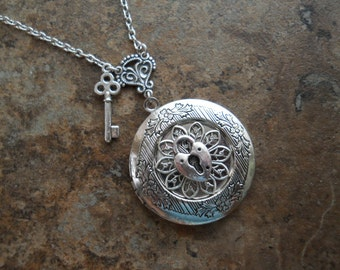 Lock and Key Filigree Locket, Sweetheart Lock and Key Locket, Original Design by Enchanted Lockets