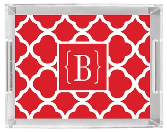 Lucite Serving Tray Personalized custom monogram tray in Red with Choose colors