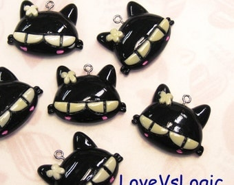 4 Cat Monster Lucite Charms. Black Tone
