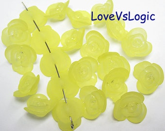 50 Acrylic Flower Beads Charms. Matte Yellow