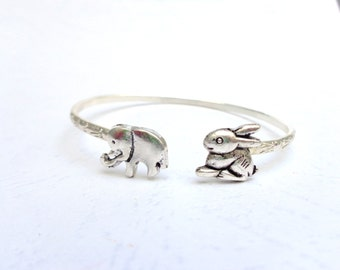 Bunny cuff bracelet with an elephant wrap style, animal bracelet, charm bracelet, bangle