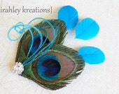 GHEA in MALIBU Blue -- Gorgeous Peacock Feather Hair Clip Headpiece Fascinator w/ Rhinestone for Weddings, Bridesmaids, Prom, Party or Gift