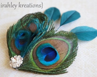 Peacock Feather Hair Clip Headpiece Fascinator GHEA OASIS Teal Green Rhinestones Wedding Bride Bridesmaids Prom Party Gift Customize