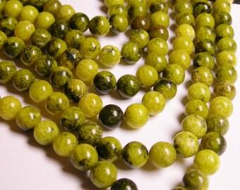 Yellow Turquoise - 8mm round beads -1 full strand - 50 beads - RFG1172