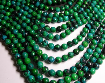 Chrysocolla - 10 mm round beads -1 full strand - 39 beads - reconstituted -
