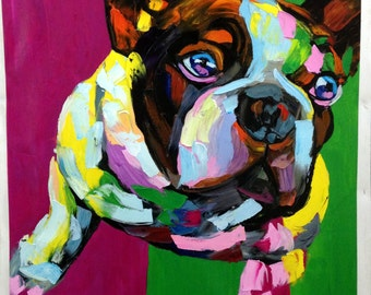 "Abstract Dog Portrait Palette Knife Textured Oil Painting 32x32"" Handpainted Francoise Nielly F5"
