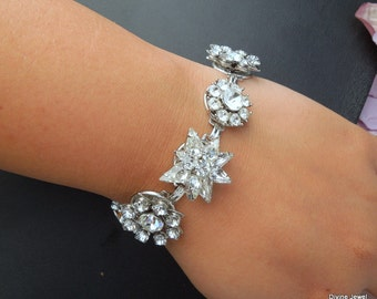 Vintage Bridal Bracelet,Vintage Rhinestone Bracelet,Vintage Wedding Rhinestone Bridal Bracelet,Vintage Jewelry,Rhinestone Cuff,Bride,FLORINE