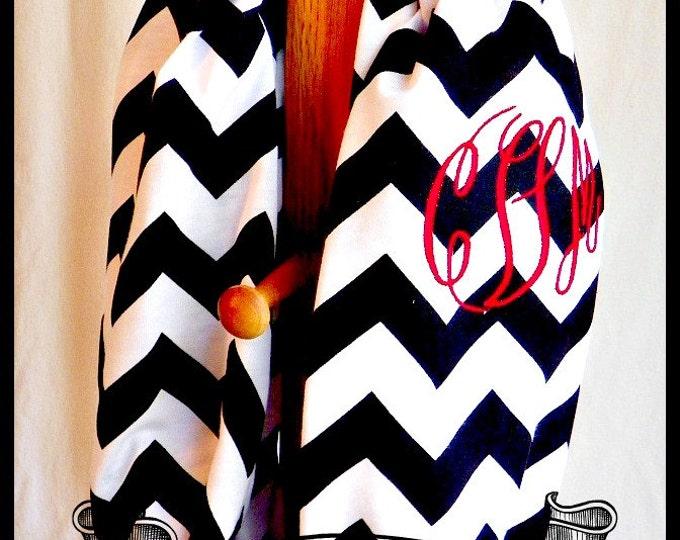 Monogram Black Chevron Infinity Scarf - personalized Infinity Scarf - Monogram Infinity Scarf