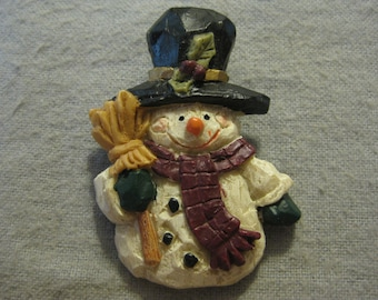 Handpainted Holiday Snowman Brooch Pin