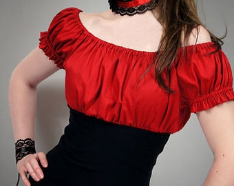 Gypsy blouse red goth boho puffy sleeves
