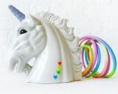 Odyssia the Unicorn Night Light - Vintage Lamp - Glitter Horn Eyes - Neon Pastel Ombre Rainbow Color Cord - OOAK Lighting Kitsch Decor OOAK