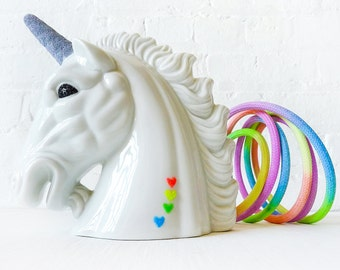 Odyssia the Unicorn Night Light - Vintage Lamp - Glitter Horn Eyes - Neon Pastel Ombre Rainbow Color Cord - OOAK Lighting Kitsch Decor OOAK