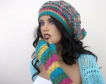 Colorful Knitting Hat and gloves-Pon pon hat-Set-fingerless gloves hat set