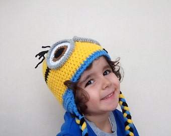 Minion Hats -Earflap minion hat-Crochet Minion Hat-halloween costume-twins-adult-two eyes- for Baby or Toddler-baby halloween outfits