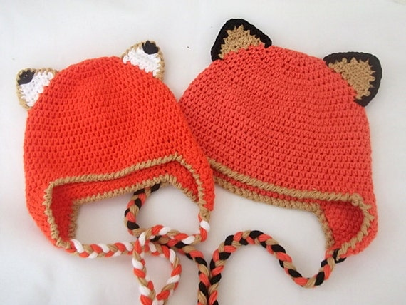 Crochet Fox Hat : COTTON Fox Hat -Crochet Baby Hat-Fox Hat with Earflaps - for twins ...