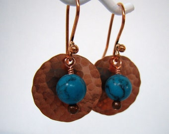 Turquoise and Copper Earrings - Copper Moon Earrings - Copper Disc and Turquoise Earrings