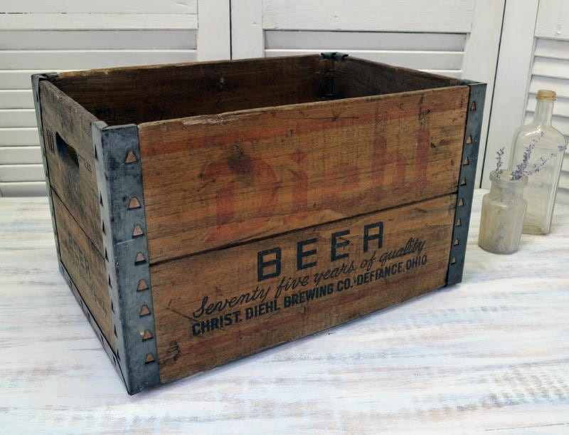 Reserved vintage diehl beer crate wooden shipping box for Old wooden crates