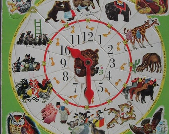 Vintage Playskool Golden Book Animal Count Clock Puzzle, Illustrations by Feodor Rojankovsky from Animal Stories, Old School Teaching Aid