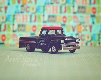 Kids Wall Art - Chevy Truck - toy car photography blue green black red