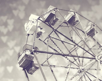 Carnival Wall Art - Ferris Wheel Love 1 - Black and White Photography