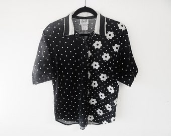 bACk to mONocHROme Vintage 1980's Polka Dots and Floral Multi-Print Shirt with Striped Collar by Tap & Co. Men's Small