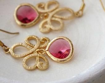 Red Teardrop Bridal Earrings, Ruby Red Dangle Earrings, Gold Lotus Swirl Earrings, Bridesmaid Earrings, July Birthstone, Bohemian Earrings