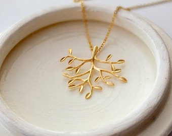 Gold Tree of Life Necklace, Branch Leaf Necklace, Leafy Tree Branch Necklace,Gold Tree Necklace, Sterling Silver Chain, Best Friend Necklace