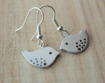 Silver Love Bird Dangle Earrings - Also Available in Silver, Cute Silver Sparrow Bird Earrings, Silver Sparrow Earrings, Bird Earrings, Gift