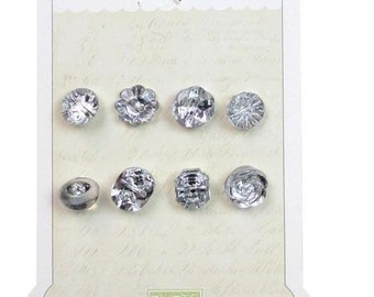 Glass Buttons Melissa Frances Embellishments Assorted Clear Crystal Silver Rhinestone