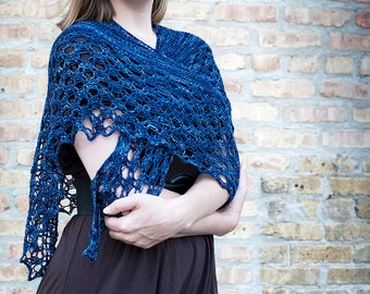 Shawl Knitting Pattern / Lace Knit / Cathy Wuthering Heights Shawlette / PDF Digital Delivery