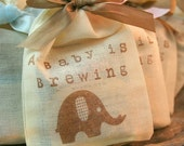 Tea Bag Favors Fully Assembled Baby Shower Muslin Bags Elephant Baby is Brewing Set of 10