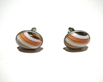 Vintage unique mens swirled glass Marble cuff links Silver tone retro brown orange white