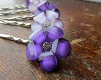 Wedding Hair Pins  Purple & Lilac Rhinestone Flower Hair Pins, Bridal Accessory