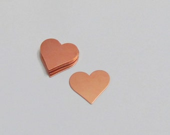 "3/4""  Copper Hearts- Premium copper - Craft for Jewelry and crafts"