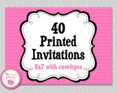 40 PRINTED INVITATIONS -  5x7 Invitations with Envelopes , SHIPS within 1-2 days by The Trendy Butterfly