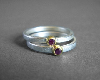 Ruby 22K Gold Sterling Silver Ring - Ready To Ship - Ruby Stacking Ring - Solitaire Ruby Ring - Ruby Silver Ring - ruby silver 22K gold ring